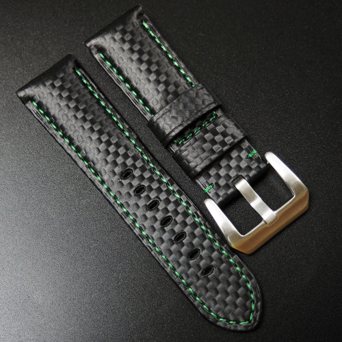 Panerai Style Black Carbon Fiber Watch Strap w/ Green Stitching - Strapholic_錶帶工房, Rolex, IWC, Panerai, AP, Cartier, Tudor, Omega, Watch_Bands