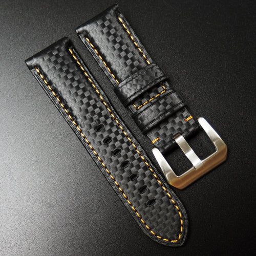 Panerai Style Black Carbon Fiber Watch Strap w/ Orange Stitching - Strapholic_錶帶工房, Rolex, IWC, Panerai, AP, Cartier, Tudor, Omega, Watch_Bands