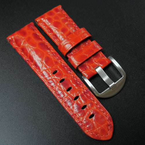 Panerai Style Red Alligator-Embossed Calf Leather Watch Strap (Girl Size) - Strapholic_錶帶工房, Rolex, IWC, Panerai, AP, Cartier, Tudor, Omega, Watch_Bands