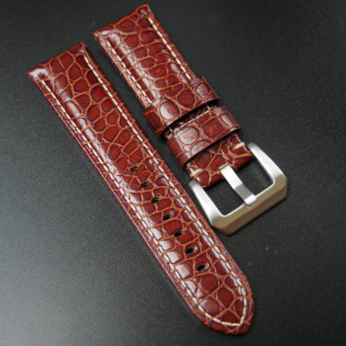 Panerai Style Barn Red Calf Leather Watch Strap