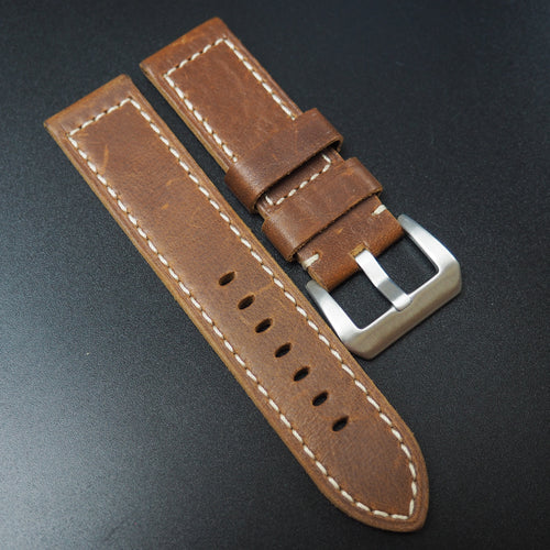 Amber Orange Calf Leather Watch Strap For Panerai