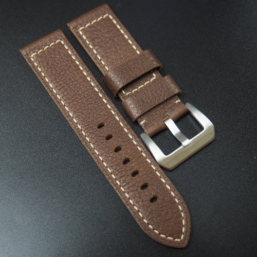 Brown Calf Leather Watch Strap For Panerai