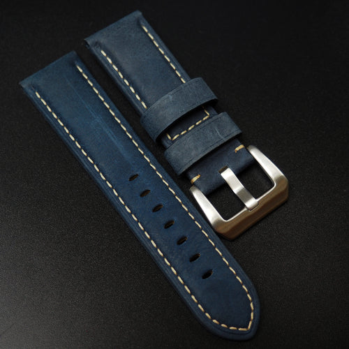 Panerai Style Italy Prussian Blue Calf Leather Watch Strap - Strapholic_錶帶工房, Rolex, IWC, Panerai, AP, Cartier, Tudor, Omega, Watch_Bands