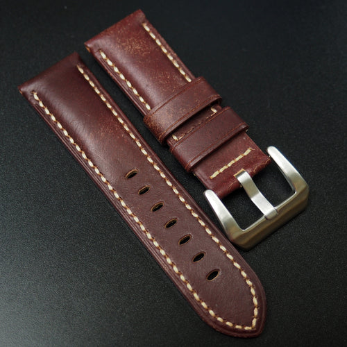 Panerai Style Italy Mahogany Red Calf Leather Watch Strap