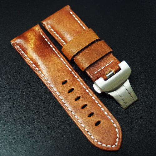 Panerai Style Italy Pumpkin Orange Calf Leather Watch Strap (Girl Size)
