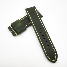 24mm Green Calf Leather w/ Yellow Stitching Watch Strap w/ Buckle For Panerai - Strapholic_錶帶工房, Rolex, IWC, Panerai, AP, Cartier, Tudor, Omega, Watch_Bands