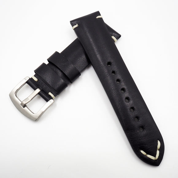 Vintage Style Italy Black Calf Leather Watch Strap w/ Buckle - Strapholic_錶帶工房, Rolex, IWC, Panerai, AP, Cartier, Tudor, Omega, Watch_Bands