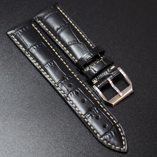 Longines Style Black Alligator-Embossed Calf Leather Watch Strap - Strapconcept_錶帶工房, Rolex_Leather, IWC_Strap, Panerai_Strap, AP_Rubber, Cartier_Leather, Tudor_Nato, Omega_Rubber, Watch_Straps