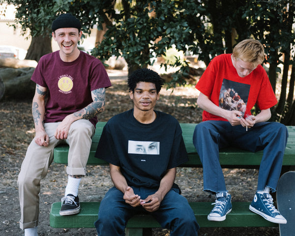 3 male skater models wearing Meaningless Ritual graphic t-shirts streetwear