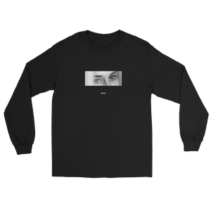 Cropped black and white photo of a girl's eyes black long sleeve shirt Meaningless Ritual streetwear