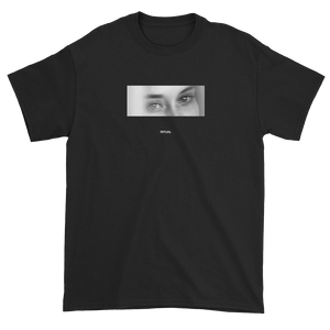 Black and White Woman with Sleepy Eyes Meaningless Ritual Black Unisex T-Shirt