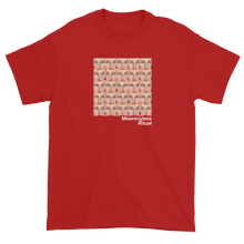 Load image into Gallery viewer, Repeating Squares of Vintage Woman's Eyes Meaningless Ritual Red T-Shirt