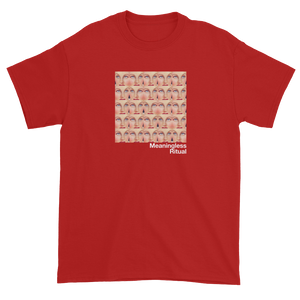 Repeating Squares of Vintage Woman's Eyes Meaningless Ritual Red T-Shirt