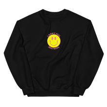 Load image into Gallery viewer, Ironic Smiley Face Nihilistic Design I Don't Feel Anything Sweatshirt