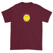 Load image into Gallery viewer, Ironic Smiley Face I Don't Feel Anything 90s T-Shirt Maroon