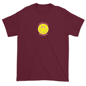 Ironic Smiley Face I Don't Feel Anything 90s T-Shirt Maroon