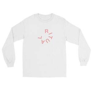 Ritual typography long sleeve t-shirt featuring an imperfect circle text logo