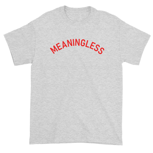 Minimal College Style Meaningless Text Arch T-Shirt Heather Ash