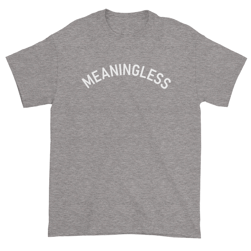 Minimal College Style Meaningless Text Arch T-Shirt Heather Grey