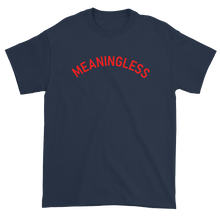 Load image into Gallery viewer, Minimal College Style Meaningless Text Arch T-Shirt Navy Blue
