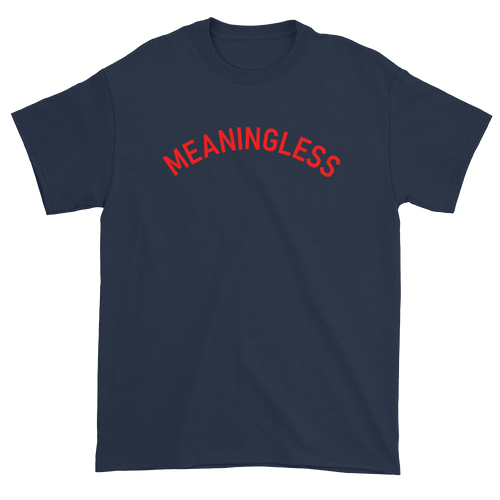 Minimal College Style Meaningless Text Arch T-Shirt Navy Blue