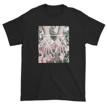 Load image into Gallery viewer, Arabic Geometric Triangle Design Hands Reaching Over Flower Black T-Shirt