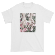 Load image into Gallery viewer, Arabic Geometric Triangle Design Hands Reaching Over Flower White T-Shirt
