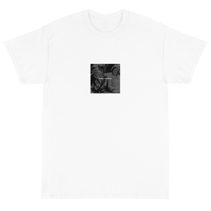 Dark humor streetwear design featuring White text of Things are looking up! over a black and white photo pre-assassination