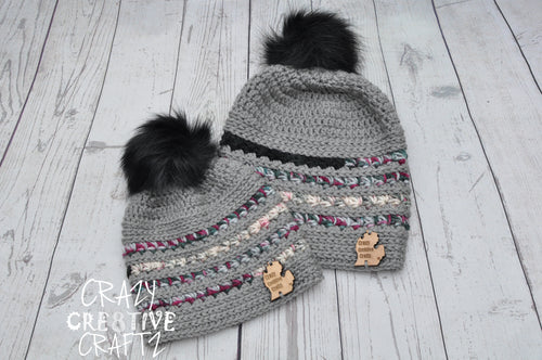 Mommy & Me DC Pom Pom Beanie Set