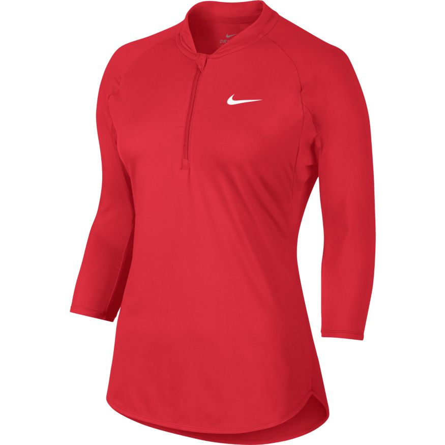 Women's NikeCourt Dry Pure Tennis Top ACTION RED/WHITE