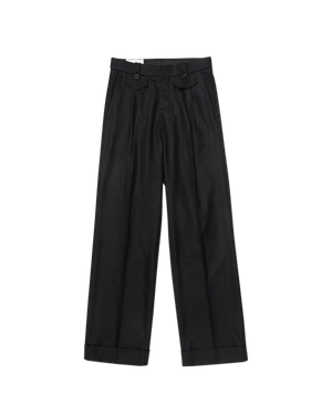 Black Ticket Pocket Pleat Trouser