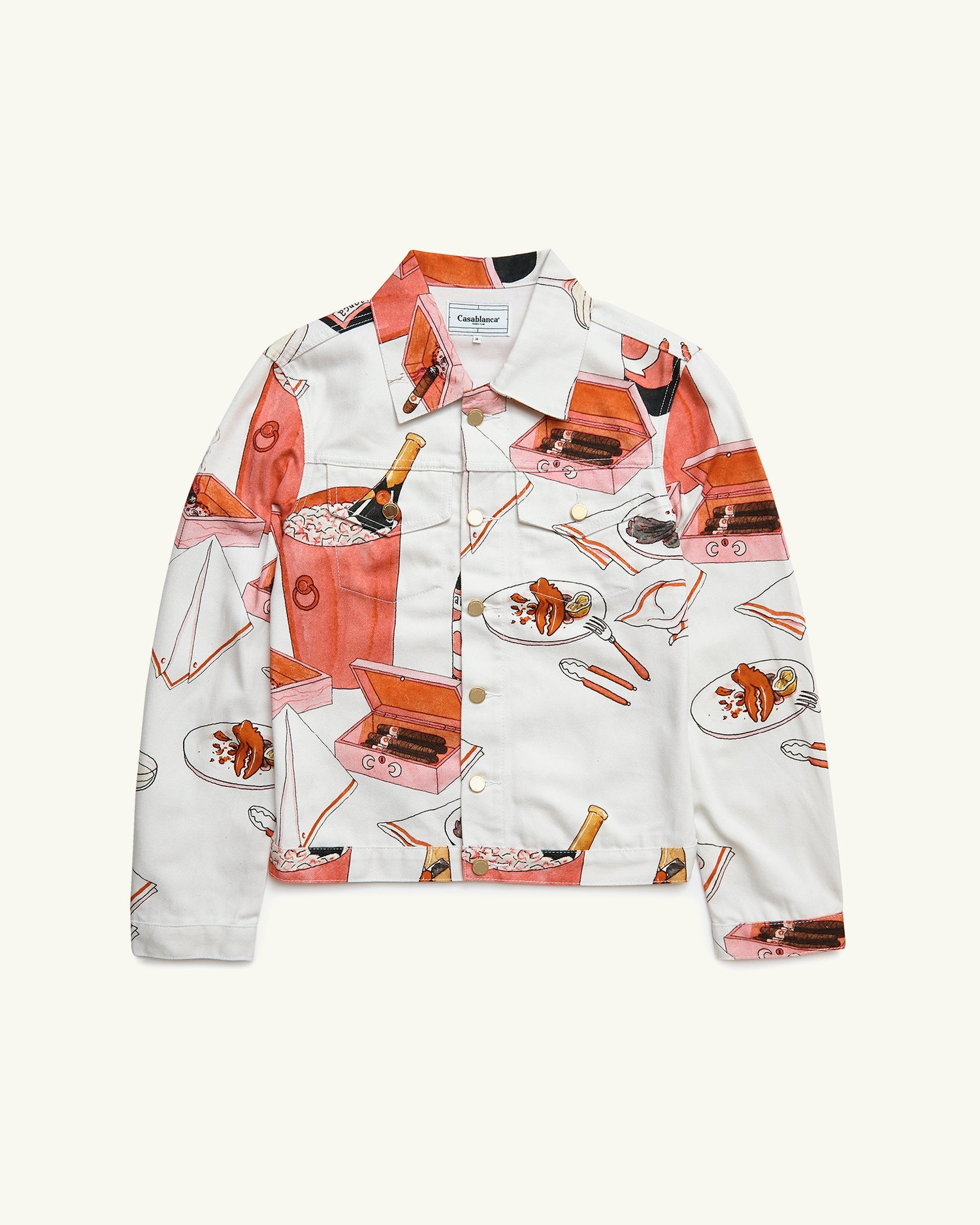 PRINTED DENIM JACKET CHAMPAGNE AND CIGARS WHITE