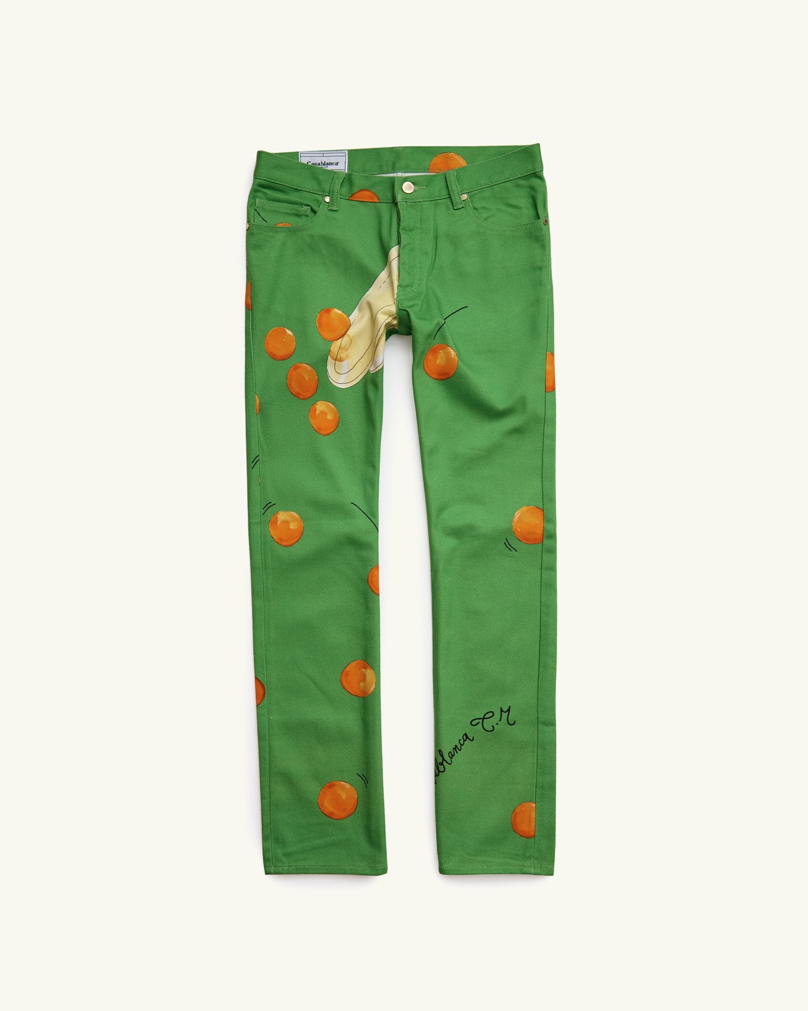 PRINTED DENIM JEANS ENCORE LES ORANGES GREEN