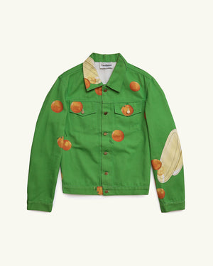 PRINTED DENIM JACKET ENCORES LES ORANGES GREEN