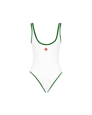 One-Piece Green Trim Swimsuit