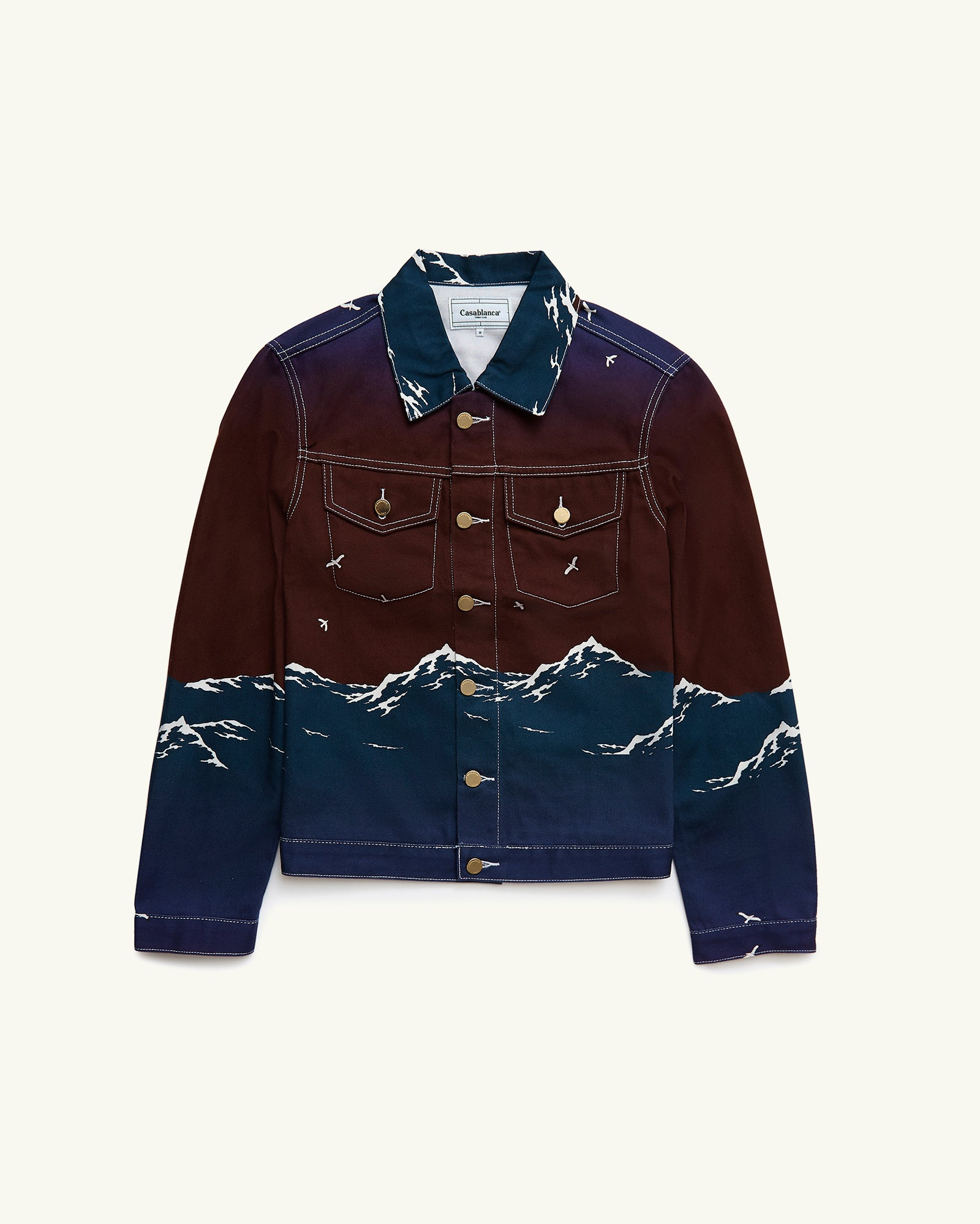 PRINTED DENIM JACKET LE PORT DE CASABLANCA MAROON