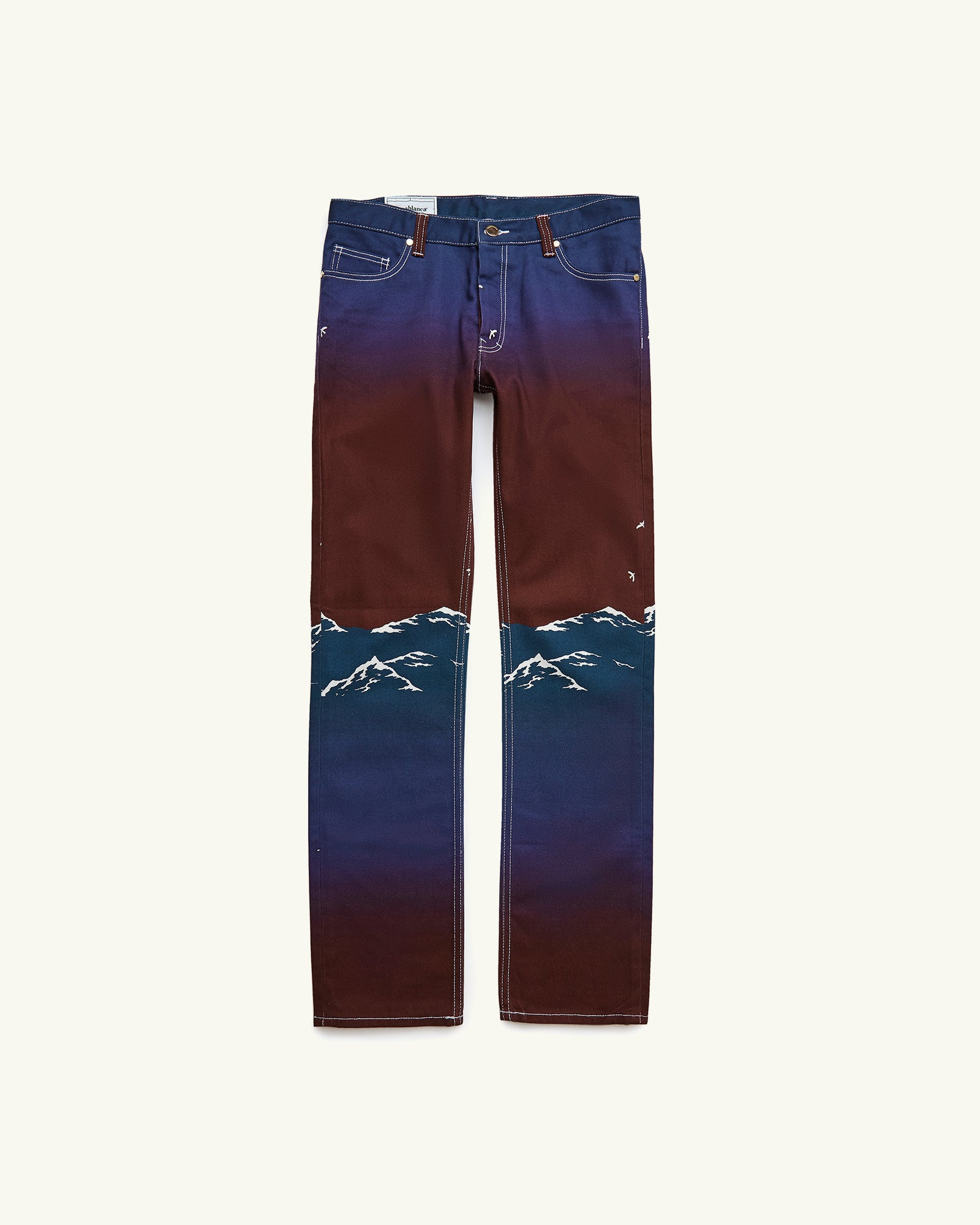 PRINTED DENIM JEANS LE PORT DE CASABLANCA MAROON
