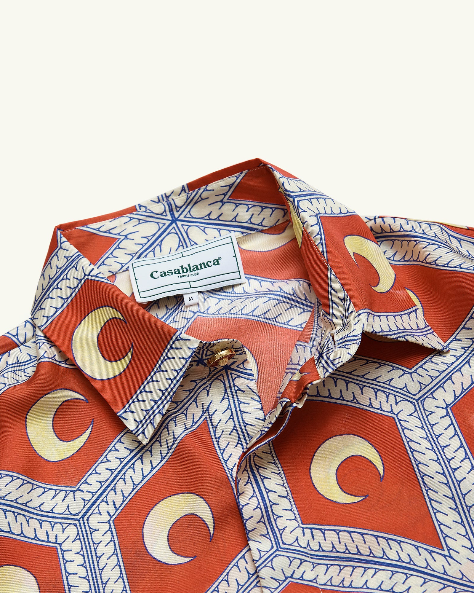 Moonlight Tiles Red Silk Shirt