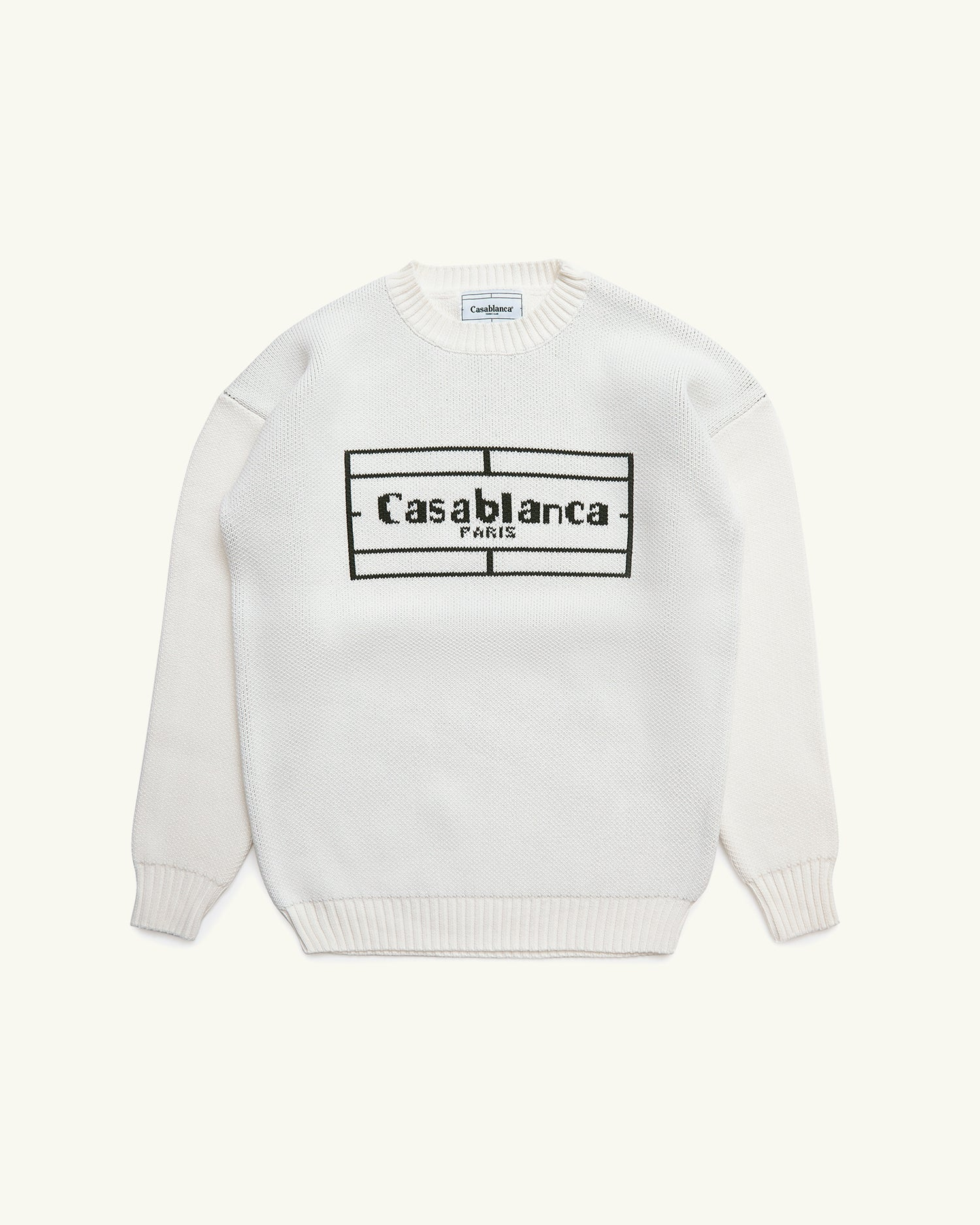 CREW NECK COTTON KNIT WITH HAND KNITTED INTARSIA TENNIS LOGO WHITE