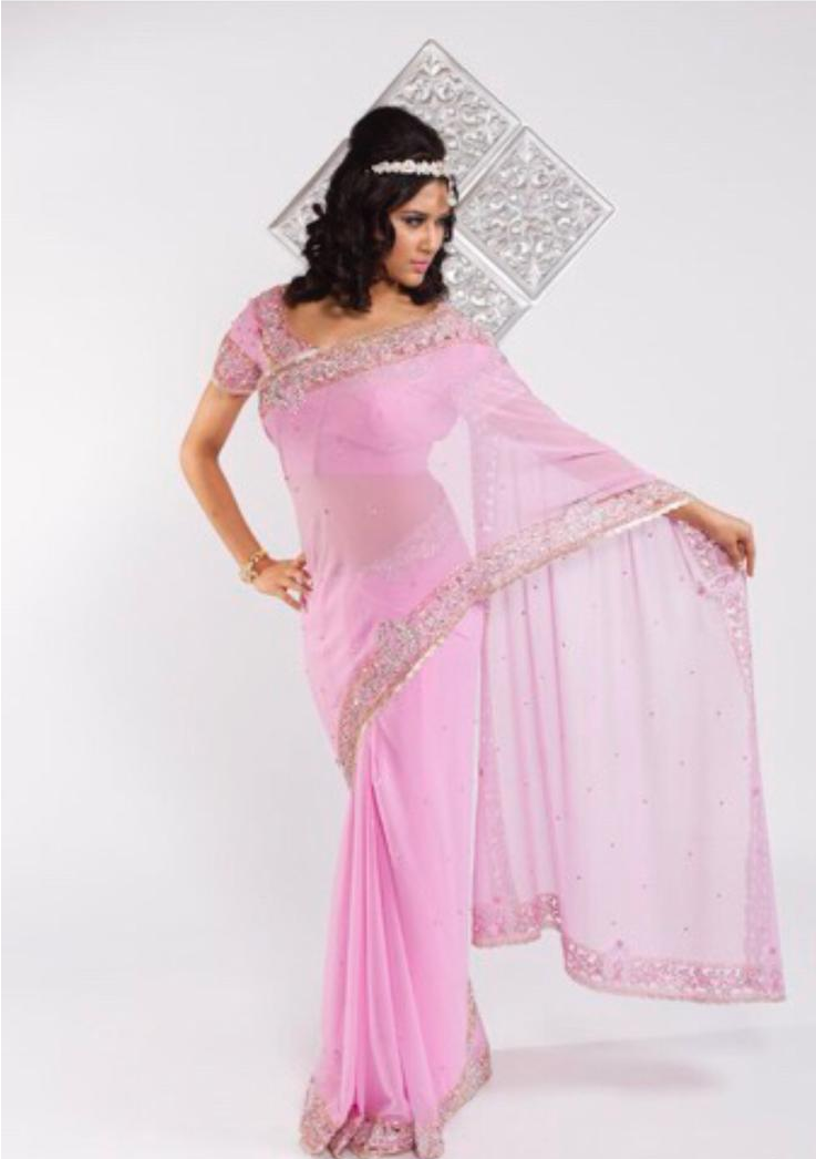 Soft Pink Saree with Silver Embroidery
