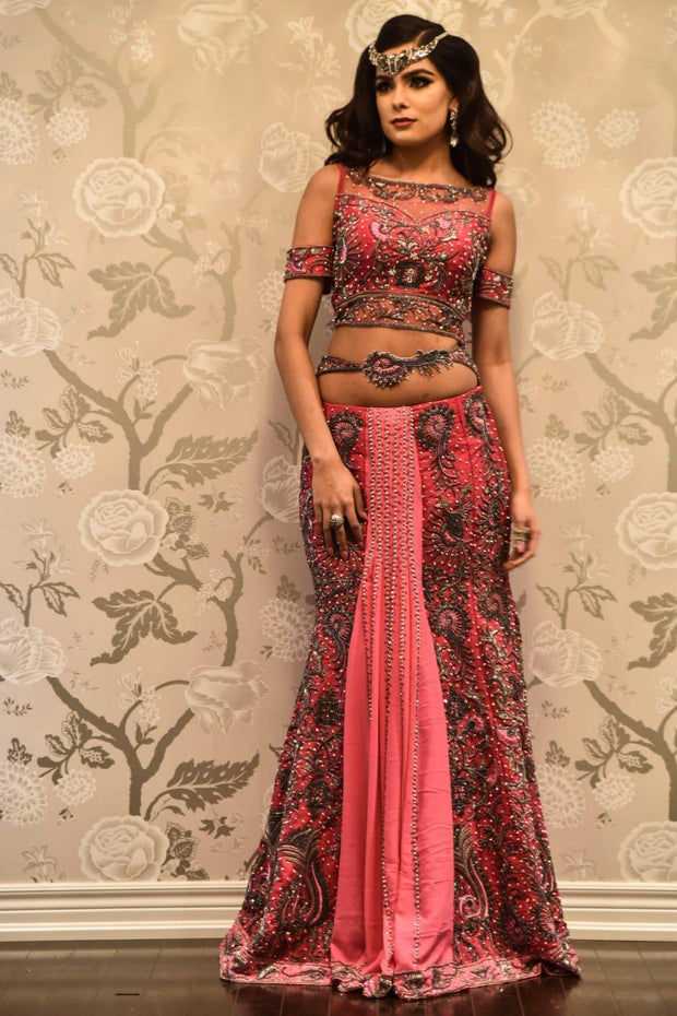 Pink Pleated Lehenga/Saree