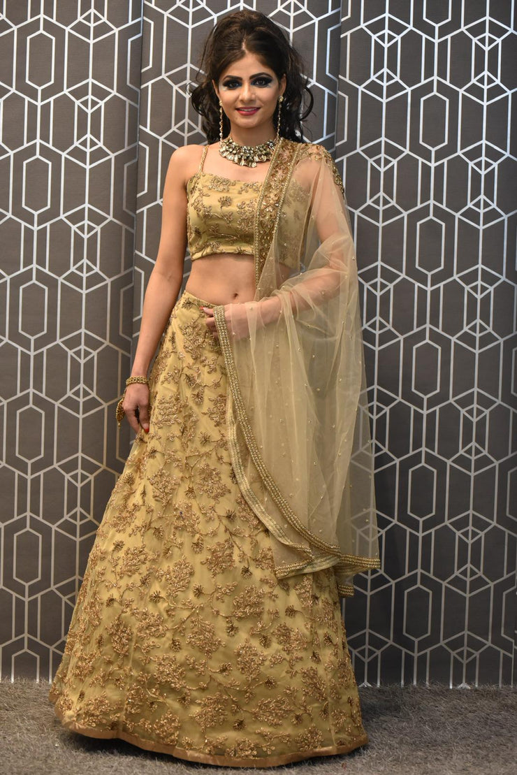Gold Evening Lehenga