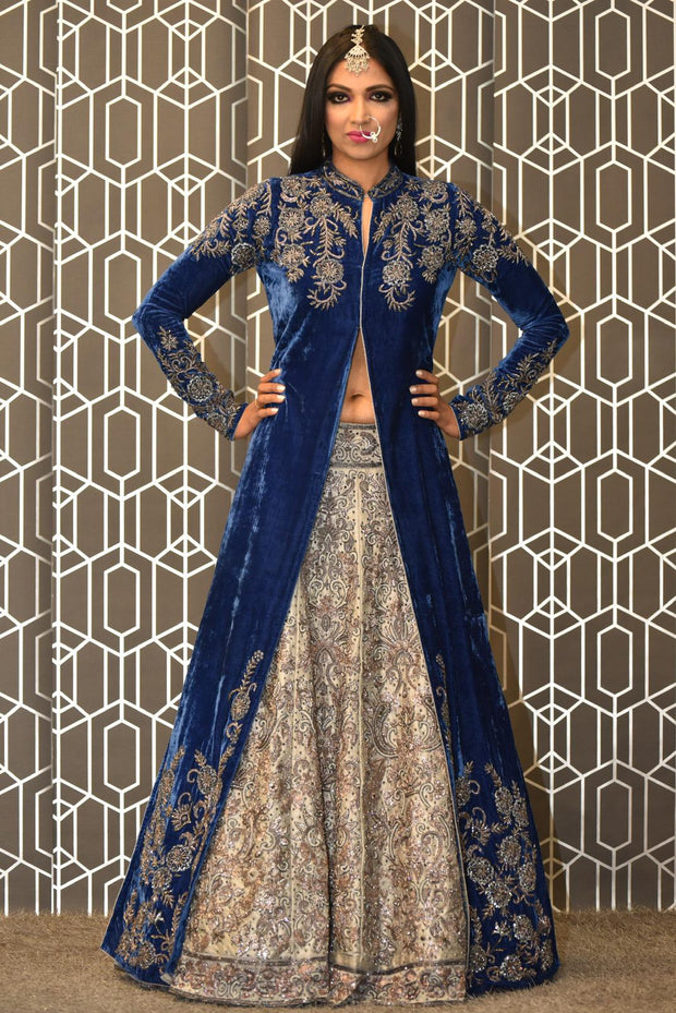 Blue Velvet Jacket with Lehenga