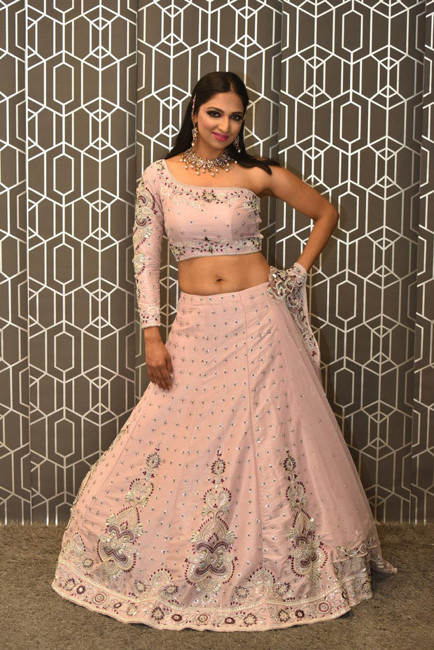 Peach Single Sleeve Lehenga