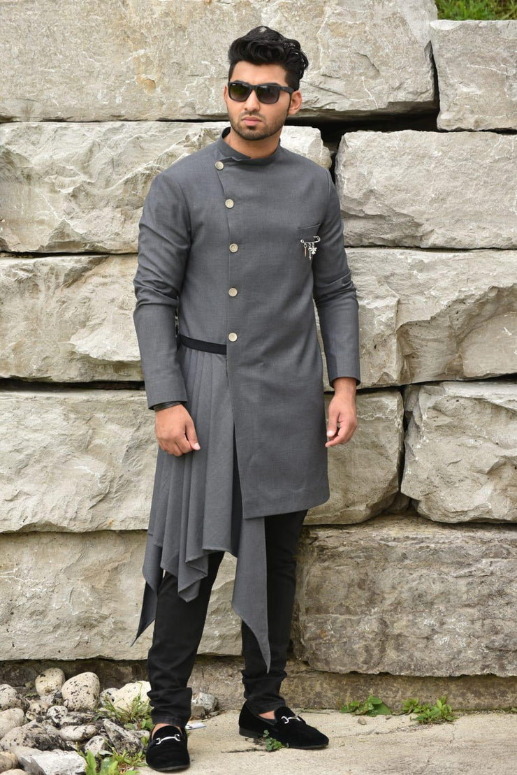 Grey Asymmetrical Sherwani
