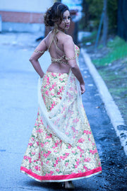 Lehenga with a backless blouse