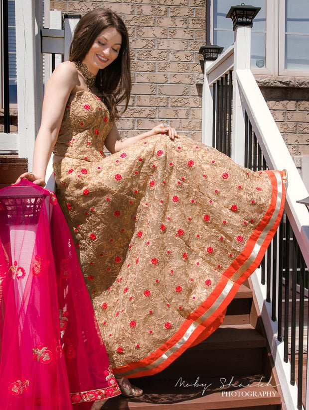 Gold and Orange Floral Lehenga