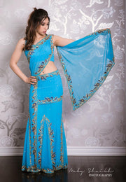 Blue Backless Saree Lehenga
