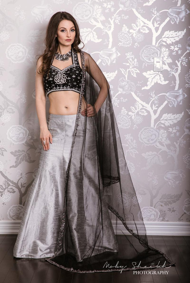 Beautiful  Black Raw Silk Blouse with Silver grey Raw Silk  Lehenga