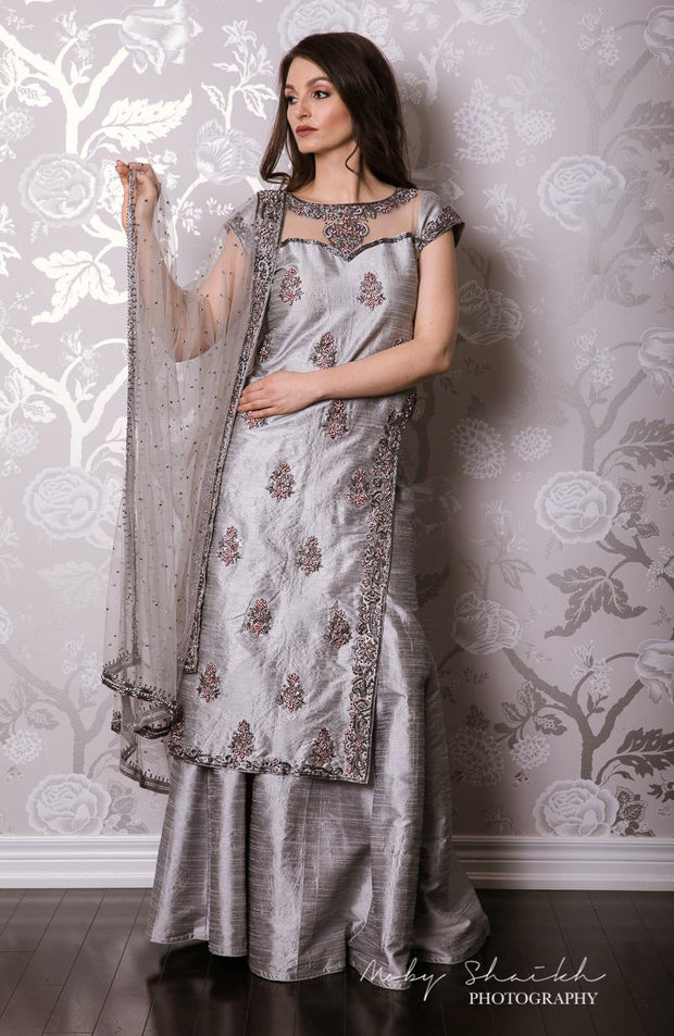 Silver Lehenga with See-Through Neckline